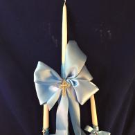 Simple and elegant.  White 24 inch candle adorned with double face satin ribbon and silver byzantine cross. 