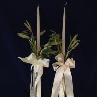 Organic and very Greek.  24 inch wedding candles with satin ribbon and natural olive branches.  Matching party favors or boubounieres made with 7 almonds and organza from Greece.  