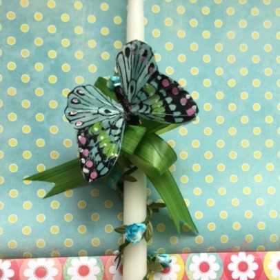 Garland wrap, green leaf pull bow, and fantastic butterfly. 