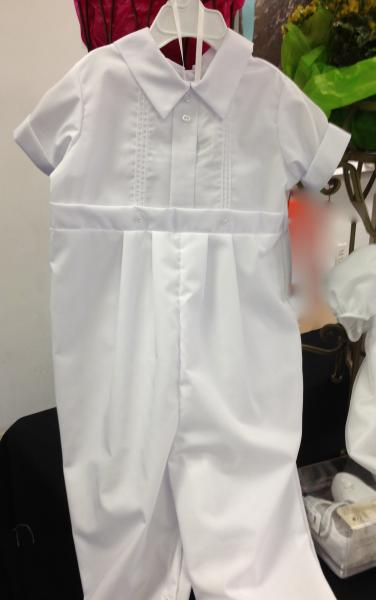 We know that boys don't like to dress up.  This onepiece cotton outfit slips right on.  Includes cap.  Don't forget shoes and socks. 