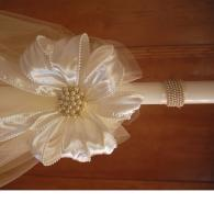 Pearl wrap and organza wedding candle