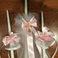 1 24 inch decorated candle and 2 15 inch matching accessory candles. 
