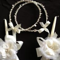 Ivory Silk Flowers Wedding Candles