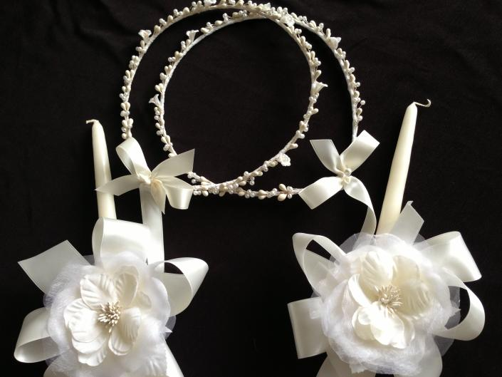 Ivory seems to be the color of the season.  Twogreekwomen exclusively offer ivory candles to match the ribbons and stefana.
