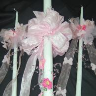 Pink Flower and butterfly Baptismal Candle Set