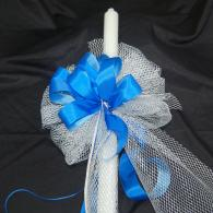 Baptismal Candle/Silver Blue